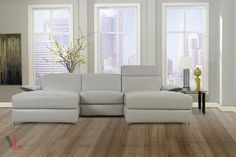 AURA TOP GRAIN LIGHT GREY LEATHER SMALL U-SHAPED SECTIONAL SOFA