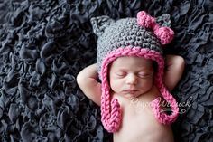 Little Grey Kitty Baby Girl Crochet Hat and by BabiesBugsAndBees