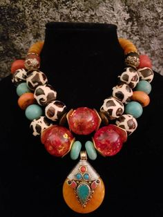 African Batik Bone Tribal Statement Necklace Set KATROX Tibetan Amber Exotic Wild Ethnic Couture Boho Chic Gift for Her Bold Chunky Dramatic African Jewelry, Ethnic Jewelry, Beaded Jewelry, Handmade Jewelry, Beaded Necklace, African Necklace, Jewelry Findings, Chunky Jewelry, Statement Jewelry