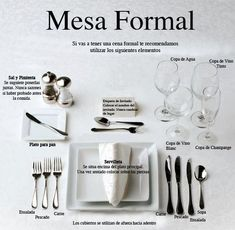 uso de cubiertos y copas en una mesa formal:
