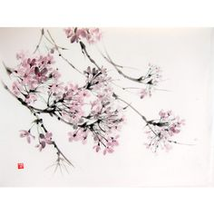 Cherry Blossom in the wind, Japanese Ink Painting on Rice Paper,18x14... (£105) ❤ liked on Polyvore featuring home, home decor, wall art, cherry blossom painting, pink home decor, cherry blossom home decor, cherry blossom wall art and pink wall art