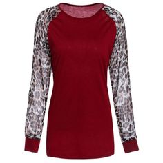 Wholesale Chic Round Neck Leopard Splicing Long Sleeve T-Shirt For Women Only $2.85 Drop Shipping   TrendsGal.com