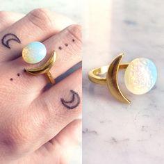 Opal gold moon ring   Opalite boho ring   Crescent white stone ring   Iridescent moon jewelery   Semi precious gemstone by SupremeElixir on Etsy https://www.etsy.com/listing/244736563/opal-gold-moon-ring-opalite-boho-ring