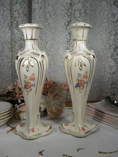 Large Candlesticks with Dresden Rose Design  by TheToyBox,