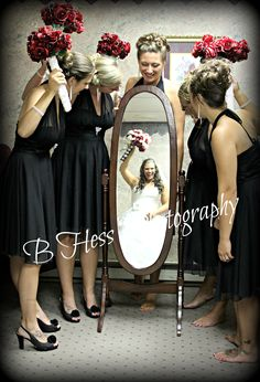 creative bridal party mirror picture