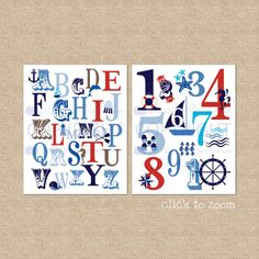 Ocean Nautical ABC and 123 Typography Giclée Art Prints, two print set // N-G47-2PS