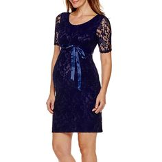 c45034134b Planet Motherhood Elbow Sleeve Lace Dress with Bow Belt Maternity JCPenney
