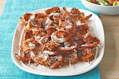 Get some seafood into the cookout mix with Spicy BBQ Shrimp Kabobs. BBQ sauce and arbol chiles give Spicy BBQ Shrimp Kabobs their special kick! Kraft Foods, Kraft Recipes, Shrimp Recipes, Fish Recipes, Beef Recipes, Cooking Recipes, Shrimp Kabobs, Food Shrimp, Fish Food