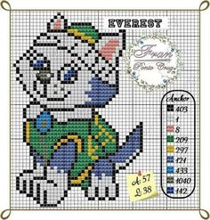 Discover thousands of images about Everest Cross Stitch Charts, Cross Stitch Designs, Cross Stitch Patterns, Plastic Canvas Crafts, Plastic Canvas Patterns, Paw Patrol Christmas, Stitch Cartoon, Cross Stitch Animals, Cross Stitching