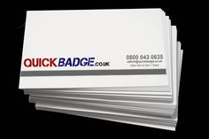 Business Cards - from www.quickbadge.co.uk  Heavyweight 350gsm 85mm x 55mm Silk Business Cards.  Single and Double sided printing in full colour.  Packed in rigid plastic business card boxes.  All prices include delivery (UK mainland) & VAT (where applicable).  If you require a quantity that isn't listed, please contact us for a price.