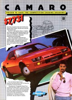 My first car- total POS. Camaro Iroc, Chevrolet Camaro, Black Camaro, Preppy Car, Chevy Classic, Pontiac Cars, Retro Pop, Car Posters, Car Advertising
