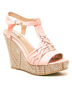 This Pink Braided Lena Wedge Sandal is perfect! #zulilyfinds