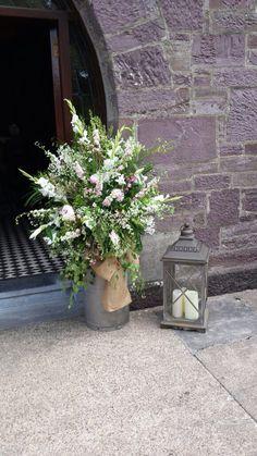 Milk Churn with Flowers & Lantern #rustic #wedding #churn #lantern #flowers