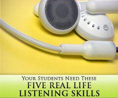 5 Real Life Listening Skills Your Students Need Teaching Spanish, Teaching English, Spanish Class, Learn Spanish, Teaching Methods, Teaching Tools, Teaching Ideas, Listening Skills, Listening Activities