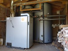 Log fired boiler to heat cottages, workshop and farmhouse