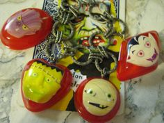 RED Monster Charm Bracelet Halloween Monsters by jansbeads on Etsy, $30.50