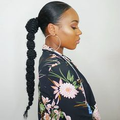 we have found 31 Bubble Ponytail Hairstyles With Weave To Wear This Year which will show simply however beautiful and classy ponytails will be. Natural Hair Care Tips, Curly Hair Tips, Curly Hair Styles, Natural Hair Styles, Weave Ponytail Hairstyles, Down Hairstyles, Protective Hairstyles, Cute Natural Hairstyles, Black Women Hairstyles