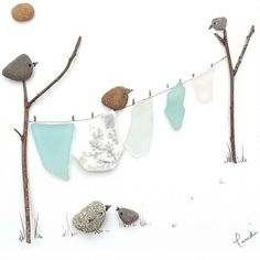 Welcome to my store This piece of artwork depicts a blustery washing day with birds in the garden made from beautiful genuine sea glass, sea pottery and pebbles. It would make a delightfully unusual gift for new/first home owner or just a pretty piece of artwork that would suit any