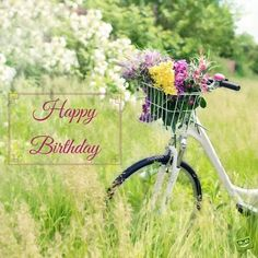 Happy Birthday bicycle with flowers