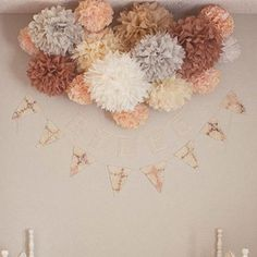 """(Set of 10) - 10"""" Tissue Paper Pom Poms - Other Colors Available"""