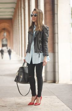 black leather biker black ripped jeans blue shirt outfit streetstyle06