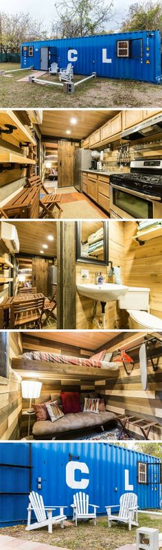 container house With the name Blue Steel: Tiny Home in The Cedars, this tiny container home in Dallas, Texas can be all yours to enjoy! The interior is elegantly. Container Home Designs, Cargo Container Homes, Storage Container Homes, Building A Container Home, Container Cabin, Container Buildings, Container Architecture, Tiny House Cabin, Tiny House Living