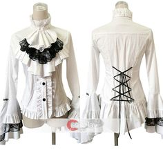 Two Colors Optional Long Sleeves with Frills Stand Collar Cotton Lolita Shirt Blouse $50.79