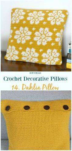 Dahlia Pillow Crochet Free Pattern - #Crochet; Decorative #Pillow; Free Patterns