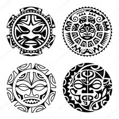 Maori Tattoos 58427 Set of polynesian tattoo styled masks. Tattoo Band, Hawaiianisches Tattoo, Mask Tattoo, Samoan Tattoo, Body Art Tattoos, Sleeve Tattoos, Buddha Tattoos, Arm Tattoos, Maori Tattoo Arm