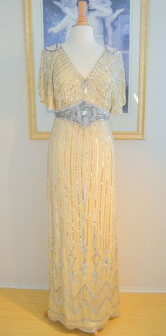 22786967591 1930 s Style Champagne Silver Beaded Moonlight Gown- S