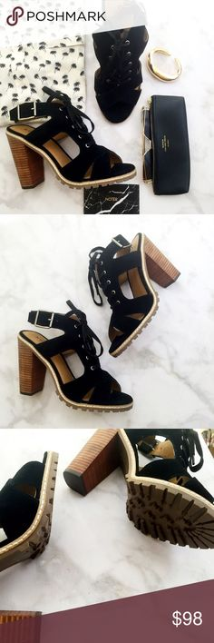 """Suede Chunky Block Heel Sandals Details: • Size 8.5 • Suede • Cutouts and lace up front • 4"""" block heel • Lug sole • Brand new in box   07141612 Kelsi Dagger Shoes Sandals"""