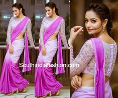 Shanvi Srivastava was recently seen in a lavender color ombre chiffon saree paired with matching full sleeves embroidered blouse by Manah