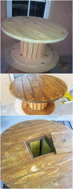 This is thus the round table design for your home use that has been creative added with the storage space inside it. This table designing has been settled with the premium use of the durable wood pallet finishing right into it that makes it perfect for further use.