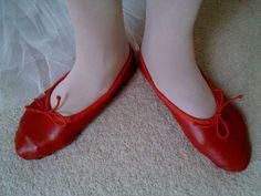 Red Leather Ballet Slippers  Full Soles Women's size by GrandGear, $25.00