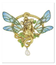 Art Nouveau Gold, Plique-a-Jour Enamel, Diamond and Pearl Pendant, France The openwork oval brooch centering a sculpted woman's face enveloped with flowing locks of hair, her head topped by a diamond-set bandeau and accented by small leaves applied with green enamel, flanked by two pairs of wings decorated with blue and green plique-a-jour enamel, suspending one pearl, signed Depose, circa 1900. | Doyle New York – Important Estate Jewelry – October 17th, 2012.