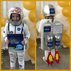 Have an astronaut costume contest.Rocket Astronaut Costume for kid Horse Costumes, Boy Costumes, Carnival Costumes, Cosplay Costumes, Diy Astronaut Costume, Astronaut Diy, Astronaut Helmet, Theme Halloween, Halloween Costumes For Kids