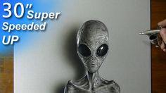 Drawing a Grey Alien - Super speeded up art
