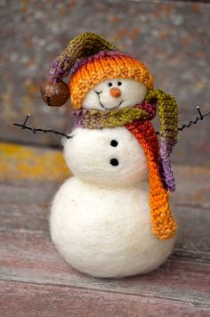 Snowman Needle Felted wool Snowmen 224 by BearCreekDesign