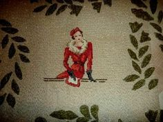point de croix  femme en rouge assise - cross-stitch woman in red sat down