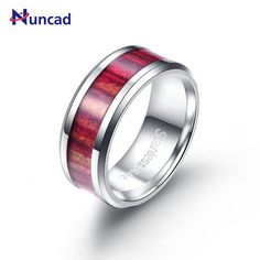 Nuncad 2017 Red Wood Texture Mens Rings Stainless Steel Rings Exquisite Biker Jewelry Anello Fashion Jewelry Wedding Ring Anel #Affiliate