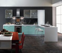 "#Kitchen Idea of the Day: A modern Italian kitchen with ""Aqua"" wood stained cabinets. By Latini Cucine."