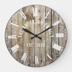 Custom Rustic Planks Wood Family Name Farmhouse Large Clock   Zazzle.com.au Farmhouse Wall Clocks, Rustic Wall Clocks, Rustic Walls, Rustic Farmhouse Decor, Country Decor, Farmhouse Style, Farmhouse Ideas, Modern Farmhouse, Grey Wood