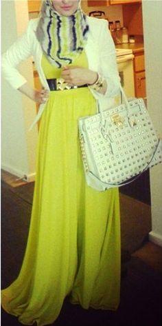 Yellow Maxi Dress + Chic Cardigan. #Hijab