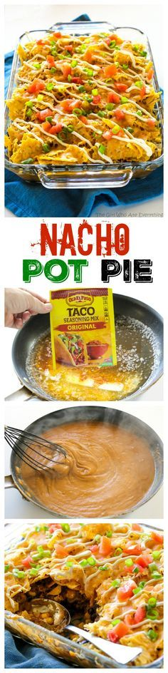 Nacho Pot Pie - a taco flavored filling of black beans and corn topped with a cr. Nacho Pot Pie – a taco flavored filling of black beans and corn topped with a crushed tortilla ch Enchiladas, Beef Recipes, Mexican Food Recipes, Cooking Recipes, Recipies, Chicken Recipes, Chicken Pot Pies, Mexican Desserts, Salad Chicken