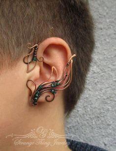 Pair or copper ear wraps Fern flower by StrangeThingJewelry