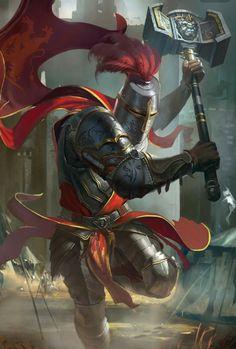 Hammer Knight Fighter - Pathfinder PFRPG DND D&D d20 fantasy
