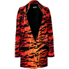 Just Cavalli Velvet Tiger Print Coat (29.335 RUB) found on Polyvore featuring outerwear, coats, jackets, animal print, cavalli, red, drape coat, black velvet coat, black coat and red coat