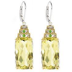 Gems en Vogue II 19.34ctw Ouro Verde & Chrome Diopside Drop Earrings