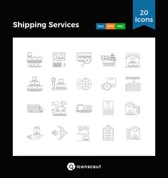 Shipping Services  Icon Pack - 20 Line Icons
