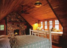 Screen Porch Cabin bedroom fireplace I will have a fire place upstairs n the bedroom ! Cozy Bedroom, Dream Bedroom, Bedroom Ideas, Small Cabin Plans, Barn Bedrooms, Bedroom Fireplace, Fireplace Windows, Wood Windows, Architectural House Plans